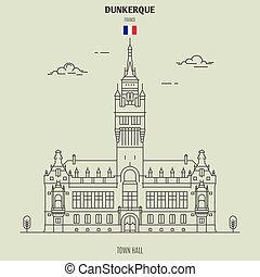 france., διακριτικό σημείο , dunkerque, δημαρχείο , εικόνα