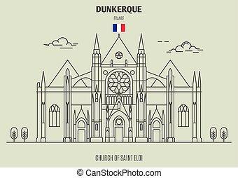 france., εκκλησία , διακριτικό σημείο , dunkerque, eloi, άγιος , εικόνα