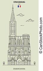 france., ランドマーク, ストラスブール, アイコン, 大聖堂