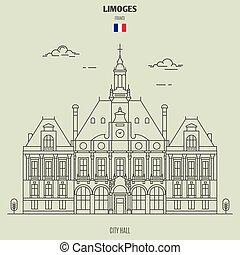 france., ランドマーク, limoges, 市役所, アイコン