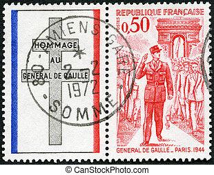 FRANCE - CIRCA 1971: A stamp printed in France shows General de Gaulle entering Paris, 1944, circa 1971