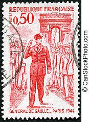 FRANCE - 1971: shows General de Gaulle entering Paris, 1944...