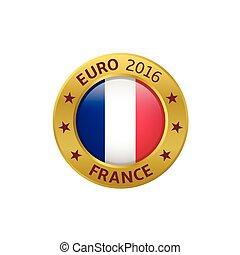 France 2016 label - Euro 2016. France flag golden label,...