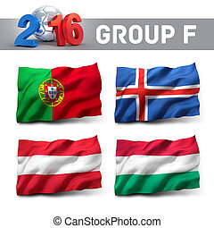 France 2016 qualifying group F with team flags. European...