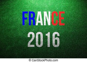 France 2016 sign. Green artificial turf. Studio shot. -...