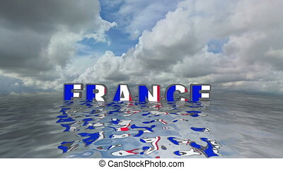 France 3d text floating on water vacation concept