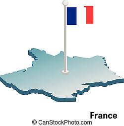 France 3d vector map with national flag