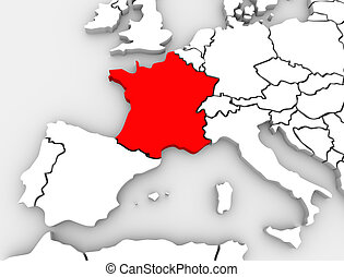 France Abstract 3D Map Europe Continent