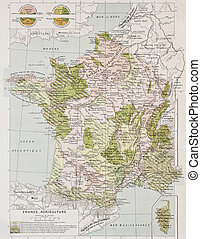 France Agriculture - France agriculture old map. By Paul...