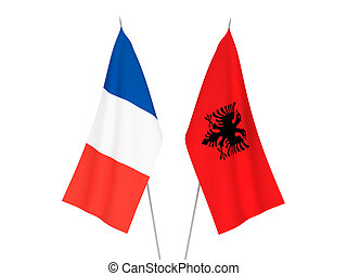 France and Albania flags - National fabric flags of France ...