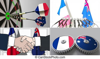 France and Australia cooperation. Conceptual animation...