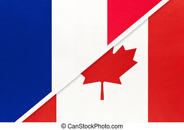 France and Canada, symbol of national flags from textile. Championship between two countries.