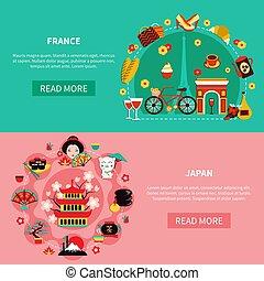France And Japan Landmarks Horizontal Banners