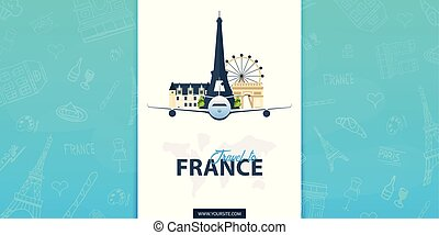 France and Paris travel banner. With flat and doodle...