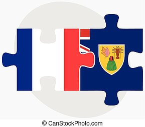 France and Turks and Caicos Islands Flags in puzzle isolated...