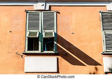 france., antigas, janela, cidade, agradável