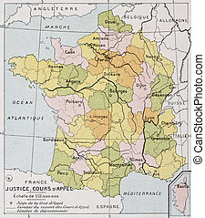 France Appellate Court old map. By Paul Vidal de Lablache,...