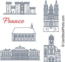 France architecture vector landmarks of Angers - France...