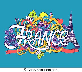 France art abstract hand lettering and doodles elements background. Vector illustration for colorful template for you design, web and mobile applications