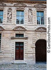 france, bâtiment, parisien, paris, façade, extérieur