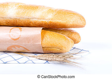 France baguette isolated with white background