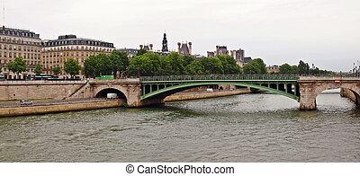 Bridge over Seine river in Paris city