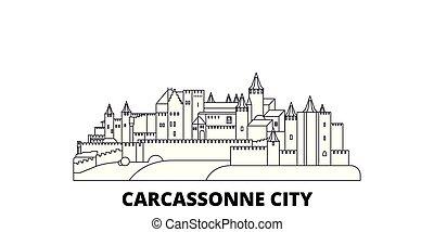 France, Carcassonne City line travel skyline set. France, Carcassonne City outline city vector illustration, symbol, travel sights, landmarks.