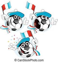 France cartoon ball - Cartoon football character emotions-...