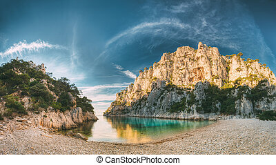 France, Cassis. Panorama Of Calanques On The Azure Coast Of ...