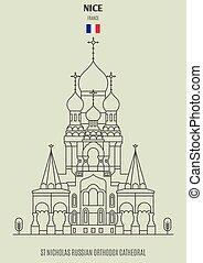 france., cathédrale, nicolas, repère, orthodoxe, icône, russe, gentil, rue