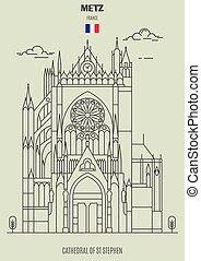 france., cathédrale, repère, metz, icône, rue, stephen