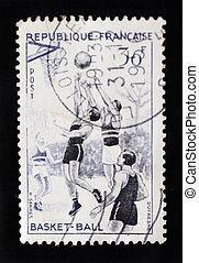 FRANCE - CIRCA 1956 - Antique postage stamp designed by Raoul Se
