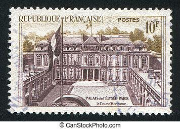 FRANCE - CIRCA 1957: stamp printed by France, shows Elysee Palace, circa 1957