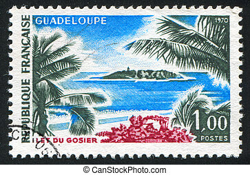 FRANCE - CIRCA 1970: stamp printed by France, shows Gosier Islet, Guadeloupe, circa 1970