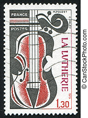 violins - FRANCE - CIRCA 1979: stamp printed by France,...