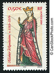 FRANCE - CIRCA 2004: stamp printed by France, shows Queen Eleanor of Aquitaine, circa 2004