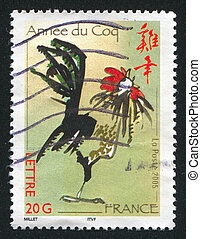 cock - FRANCE - CIRCA 2005: stamp printed by France, shows ...