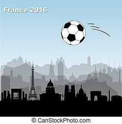 France cities skylines with  football / soccer ball