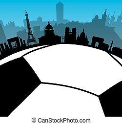 France cities skylines with  fotball ball
