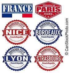 France cities stamps