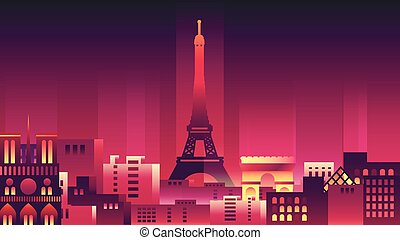 France city night neon style architecture buildings town country travel