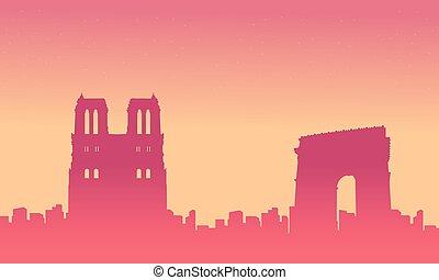 France city skyline background silhouette landscape