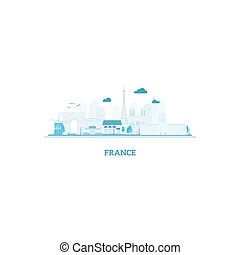 France cityscape silhouette in blue colors