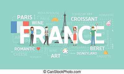 France concept illustration. Idea of Europe, romance and...
