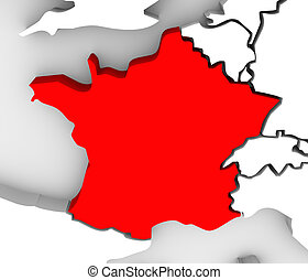 France Country 3d Abstract Illustrated Map Europe
