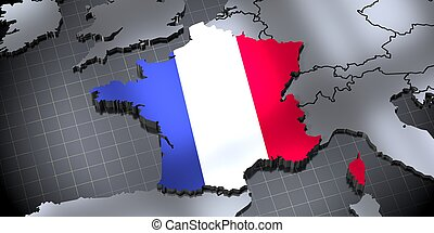 France - country borders and flag - 3D illustration
