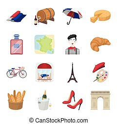 France country set icons in cartoon style. Big collection of France country vector symbol stock illustration