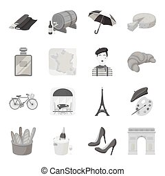 France country set icons in monochrome style. Big collection of France country vector symbol stock illustration