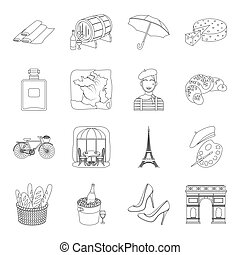 France country set icons in outline style. Big collection of France country vector symbol stock illustration