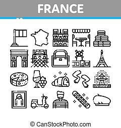 France Country Travel Collection Icons Set Vector. France Flag And Triumphal Arch, Eiffel Tower And Moulin Rouge, Cheese And Croissant Concept Linear Pictograms. Monochrome Contour Illustrations